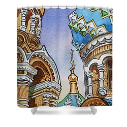 Colors Of Russia St Petersburg Cathedral II Shower Curtain by Irina Sztukowski