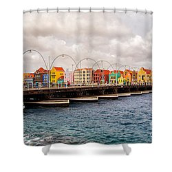 Colors Of Willemstad Curacao And The Foot Bridge To The City Shower Curtain