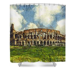 Colosseum Pencil Shower Curtain by Sophie McAulay