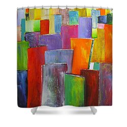 Colour Block 3 Painting Shower Curtain