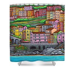 Colours Of Manarola Shower Curtain by Lisa  Lorenz