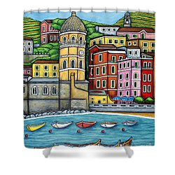 Colours Of Vernazza Shower Curtain by Lisa  Lorenz