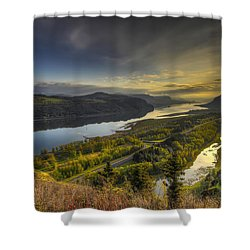Columbia River Gorge At Sunrise Shower Curtain
