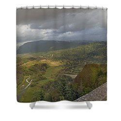 Shower Curtain featuring the photograph Columbia River Gorge View From Crown Point by JPLDesigns