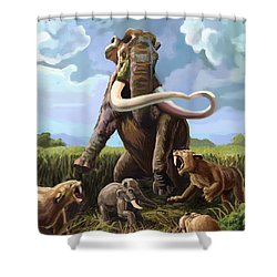 Columbian Mammoth And Saber-toothed Cats Shower Curtain by Spencer Sutton