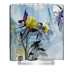 Columbine Blossom With Suminagashi Ink Shower Curtain by Peter v Quenter