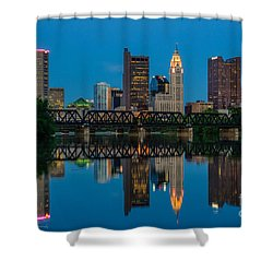 Columbus Ohio Night Skyline Photo Shower Curtain