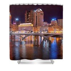 Columbus Skyline At Night Color Panorama Ohio Shower Curtain