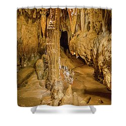 Columns In The Caves Shower Curtain by Jonah  Anderson