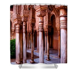 Columns Of The Court Of The Lions - Painting Shower Curtain