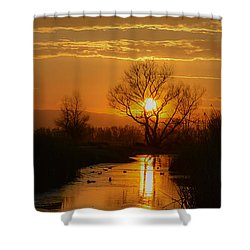 Colusa Wildlife Refuge Sunset Shower Curtain
