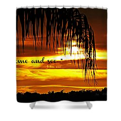 Come And See Shower Curtain by Sharon Soberon