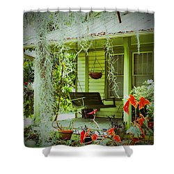 Come Sit Awhile Shower Curtain by Patricia Greer