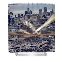 Shower Curtain featuring the photograph Comerica Park Asteroid by Nicholas  Grunas