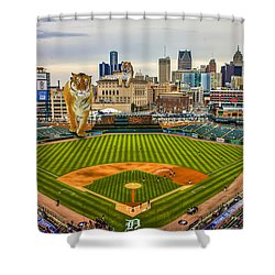 Shower Curtain featuring the photograph Comerica Park Detroit Mi With The Tigers by Nicholas  Grunas