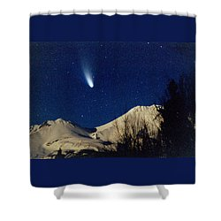 Comet Hale Bopp Rising Over Mount Shasta 01 Shower Curtain by Patricia Sanders