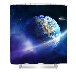 Comet Moving Passing Planet Earth Shower Curtain by Johan Swanepoel