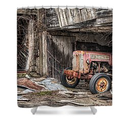 Shower Curtain featuring the photograph Comfortable Chaos - Old Tractor At Rest - Agricultural Machinary - Old Barn by Gary Heller