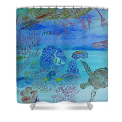Shower Curtain featuring the painting Coming Out Of My Shell by Meryl Goudey