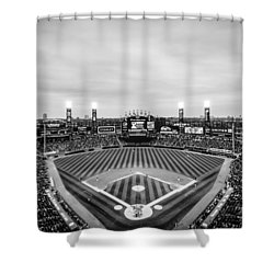 Comiskey Park Night Game - Black And White Shower Curtain