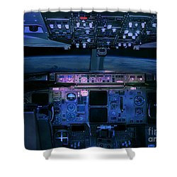 Commercial Airplane Cockpit By Night Shower Curtain by Gunter Nezhoda