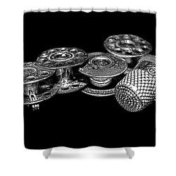 Commercial Vintage Bobbins On Black Shower Curtain