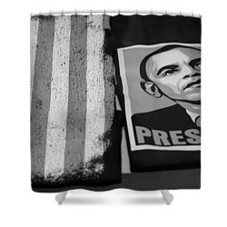 Commercialization Of The President Of The United States In Balck And White Shower Curtain by Rob Hans