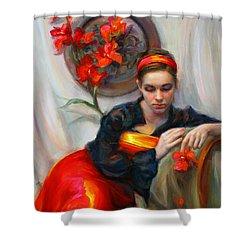 Common Threads - Divine Feminine In Silk Red Dress Shower Curtain by Talya Johnson