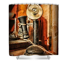 Communication - Candlestick Phone Shower Curtain by Paul Ward