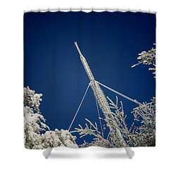 Communication Pole Covered With Snow In A Sunny Winter Day Shower Curtain