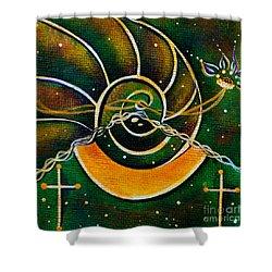 Shower Curtain featuring the painting Communicator Spirit Eye by Deborha Kerr