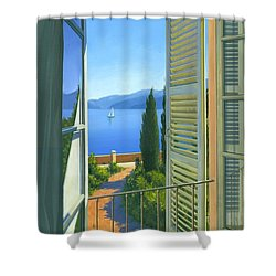 Shower Curtain featuring the painting Como View by Michael Swanson