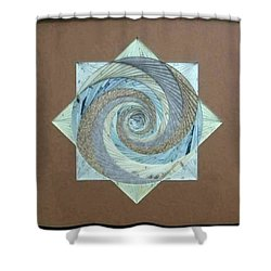 Shower Curtain featuring the mixed media Compass Headings by Ron Davidson