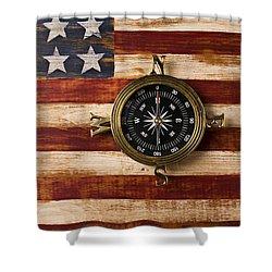 Compass On Wooden Folk Art Flag Shower Curtain by Garry Gay