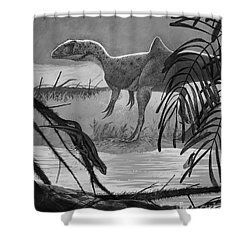 Concavenator Corcovatus Searching Shower Curtain by Roman Garcia Mora