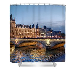 Conciergerie And Pont Napoleon At Twilight Shower Curtain by Jennifer Ancker