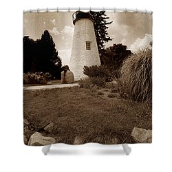 Concord Point Lighthouse Shower Curtain by Skip Willits