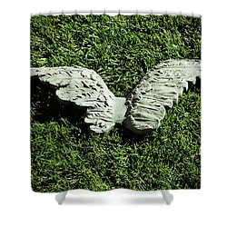Concrete Angel Shower Curtain by Holly Blunkall