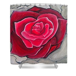 Shower Curtain featuring the painting Concrete Rose by Marisela Mungia