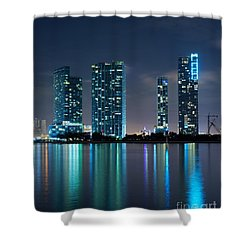 Condominium Buildings In Miami Shower Curtain by Carsten Reisinger