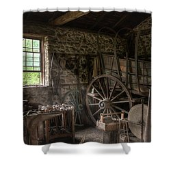 Shower Curtain featuring the photograph Conestoga Wagon At The Blacksmith - Wagon Repair by Gary Heller