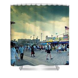 Coney Island Brooklyn New York City Shower Curtain by Sabine Jacobs