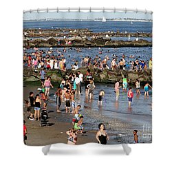 Shower Curtain featuring the photograph Coney Island Rocks by Ed Weidman