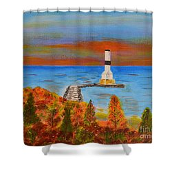 Fall, Conneaut Ohio Light House Shower Curtain by Melvin Turner