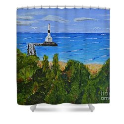 Summer, Conneaut Ohio Lighthouse Shower Curtain by Melvin Turner