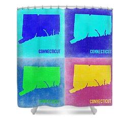 Connecticut Pop Art Map 2 Shower Curtain by Naxart Studio