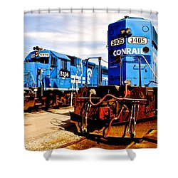 Conrail Choo Choo  Shower Curtain by Frozen in Time Fine Art Photography