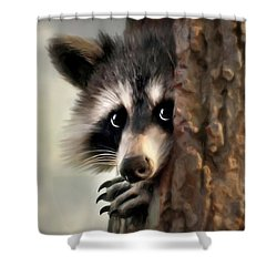 Shower Curtain featuring the mixed media Conspicuous Bandit by Christina Rollo