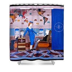 Constellation Businessman Served Martini By Sexy Stewardess Shower Curtain by John Lyes