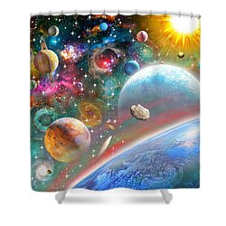 Constellations And Planets Shower Curtain by Adrian Chesterman